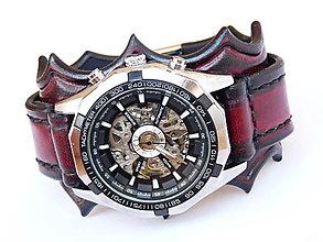 Šperky - Červený-čierny kožený remienok s hodinkami winner - 7141334_