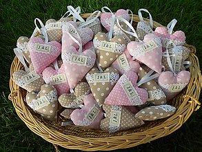 Darčeky pre svadobčanov - Svadobné srdiečka s iniciálkami, PINK & BROWN - 7142557_