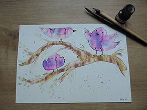 Kresby - Fialové vtáčence na konári - 7143054_