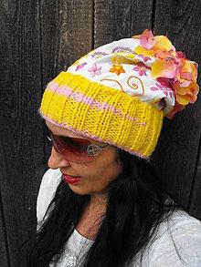 Čiapky - čiapka ružovo-žltá - 7141831_