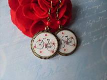 Náušnice - Ružičkový bicykel - 7145609_