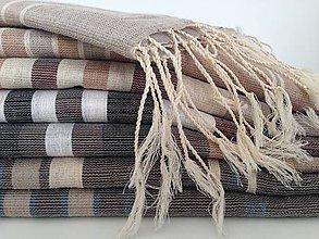 Úžitkový textil - Fouta pruhovaná z ľanu - 7144982_