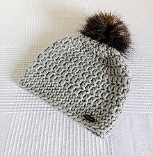 Detské čiapky - Sivá teplá čiapka s kožušinovým brmbolcom - 7146249_