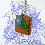 Náhrdelníky - Keksík štvorec s kvetinkou NA ZÁKAZKU - 7144334_