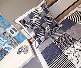 Úžitkový textil - prehoz na posteľ  160x200 cm parížsko modrá s bielou - 7148556_