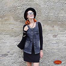 Iné oblečenie - tmavě šedá šatová riflová vesta, propínací (velikost 40 - skladem) - 7149598_