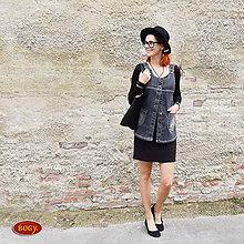 Iné oblečenie - tmavě šedá šatová riflová vesta, propínací (velikost 44 - skladem) - 7149619_