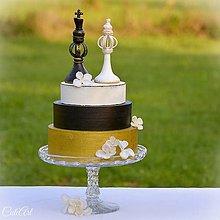 Dekorácie - Kráľ a kráľovná - šachové figúrky na svadobnú tortu - 7149136_