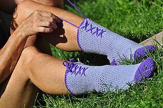 Obuv - vo vlne-Fialové ponožky - 7146607_