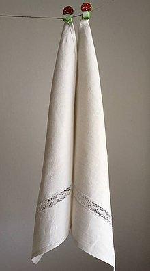 Úžitkový textil - Utierka z ručne tkaného ľanu OD STAREJ MAMY - 7148250_