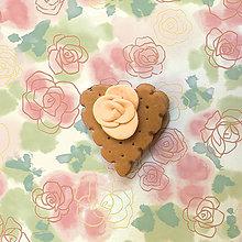 Kľúčenky - Keksík (srdiečko s ružičkou NA ZÁKAZKU) - 7146750_