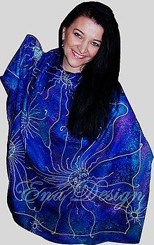 Šatky - hodvábna šatka - 100% hodváb - vesmírne kvety - 7150449_