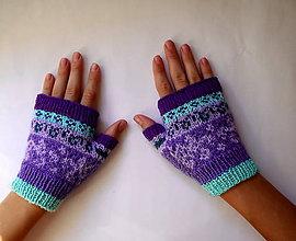 Rukavice - Rukavice fialové s kvapkou pepermintu - 7151968_