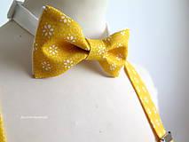 Doplnky - pánsky motýlik žltý - 7152628_