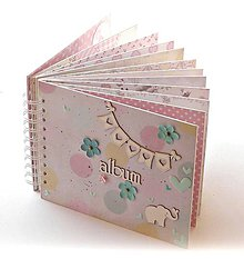 Papiernictvo - Album pre dievčatko-fotoalbum tyrkysov ý - ružový-pastelový/jediný kus%zľava - 7152005_