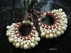 Náušnice - Vejáriky krémové v bronze - 7152131_