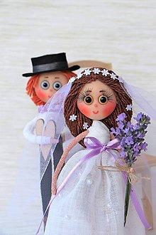 Bábiky - Levandulová nevestička Janka a ženích Vladko - 7154415_