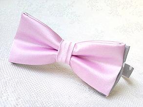 Doplnky - Svadobný pánsky motýlik (ružový/šedý/biele bodky) - 7156523_