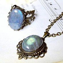 Sady šperkov - Vintage Labradorite & Ornaments Set / Set šperkov s labradoritom v bronzovom prevedení - 7154441_