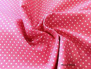 Textil - Bavlnená látka - bodky biele na ružovom - cena za 10 cm - 7155737_