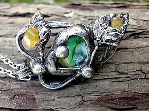 Náhrdelníky - cínovaný náhrdelník s perleťovým nugetom a citrínom - 7155133_