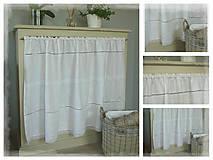 Úžitkový textil - Lněný shabby závěs bílý š.150xd.75cm - 7155915_