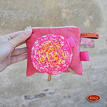 Peňaženky - manšestrová peněženka, růžová kapsička s aplikací - 1ks - 7153062_