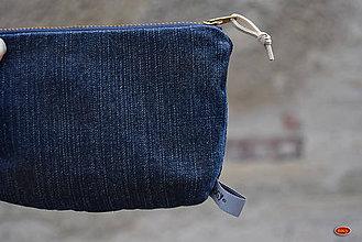 Peňaženky - unisex recy riflová tmavěmodrá kapsička/peněženka - 7155376_