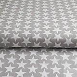 Textil - sivo-biele hviezdy, 100 % bavlna, šírka 160 cm, cena za 0,5 m - 7155629_