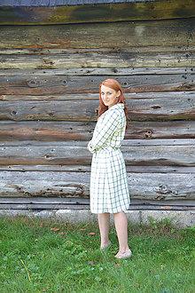 Šaty - Biele kárované šaty - 7155305_