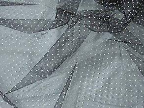 Textil - Tyl - čierny s bielymi bodkami - 7155707_
