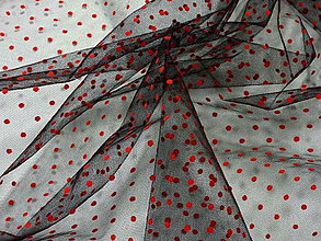 Textil - Tyl - čierny s červenými bodkami - 7155762_