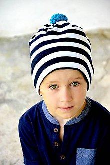 Detské čiapky - Elf čiapka prúžok Navy & tyrkis - 7156593_