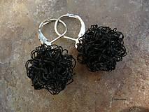 Náušnice - Motaničky čierne - 7154309_