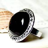 Vintage Silver Black Agate / Výrazný prsteň s čiernym achátom