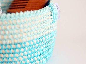 Košíky - Bavlnený košík: tyrkysový - 7157398_