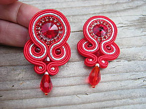 Náušnice - Simple teardrop...soutache (Red/Silver) - 7158769_
