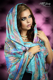 Šatky - Hodvábna maľovaná šatka - Rozprávka o Fatime - 7157975_