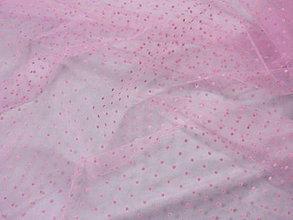 Textil - Tyl - ružový tyl s ružovými bodkami - 7158529_