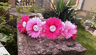 Ozdoby do vlasov - Ružové margarétky s gombíčkami - 7159843_