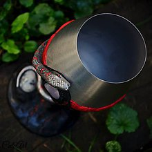 Nádoby - Strážca pokladov - magická čaša (had, ruženín, mesačný kameň) - 7159482_