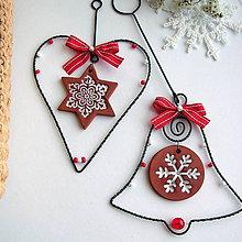 Dekorácie - srdiečko, zvonček s keramikou / vianoce / - 7161244_