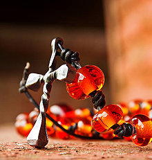 Náhrdelníky - RUŽENEC -  oranžový svietivý - 7162439_