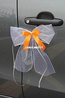 Dekorácie - svadobné mašle na svadobné auto - 7163108_