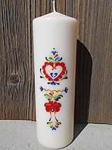 ručne maľovaná sviečka s ľudovým ornamentom/vysoká