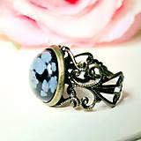Bronze Romantic Snowflake Obsidian / Prsteň s vločkovým obsidiánom