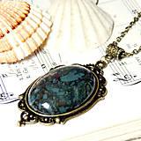 Náhrdelníky - Vintage Moss Agate in Bronze / Masívny náhrdelník s machovým achátom v bronzovom prevedení - 7163644_