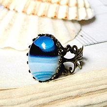 Prstene - Bronze Blue Stripped Agate / Prsteň s modrým pásikavým achátom v bronzovom prevedení - 7166024_