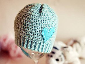 Detské čiapky - Láska v bledomodrom - 7164837_