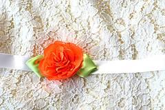 Opasky - Opasok oranžová ruža s listami VÝPREDAJ! - 7163956_